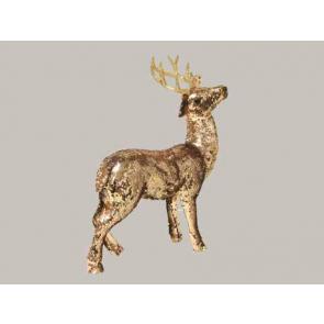 Dekorace Jelen zlatý 44cm