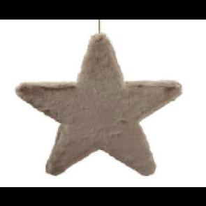 Dekorace hvězda látková šedo-hnědá 25cm