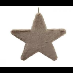 Dekorace hvězda látková šedo-hnědá 40cm