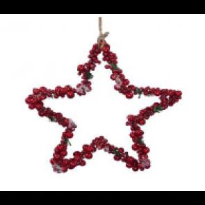 Dekorace hvězda z bobulí červená 25cm