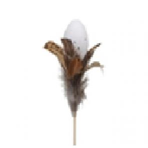 Vajíčko zápich s peřím přírodní