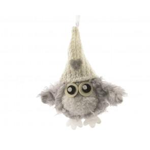 Plyšová sova s pletenou čepicí šedá