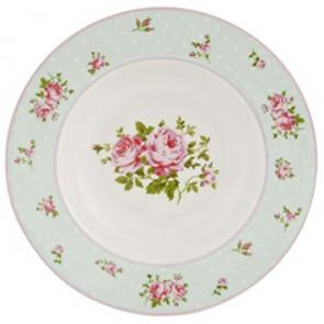 Hluboký talíř 22 cm, světle modrý, puntíky a květiny
