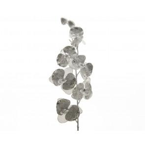 Umělá orchidej 78cm stříbrná/glitry