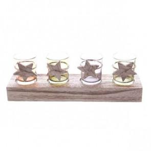 Skleněný svícník na dřevěné základně