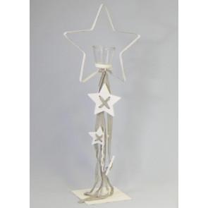 Hvězda svícen kov bílá