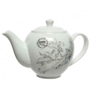 Čajová porcelánová konvička s květinovým motivem