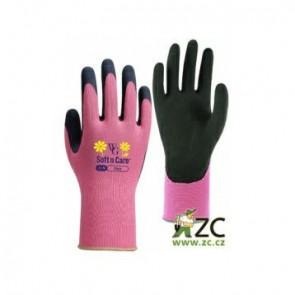 Pracovní rukavice Flora růžové, vel. 7