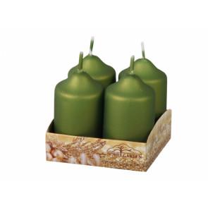 Svíčka adventní metalická matná d4x7cm 4ks, olivová