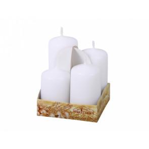 Svíčky adventní STUPŇOVITÉ matné d4x6/7/8/9cm 4ks, matná bílá