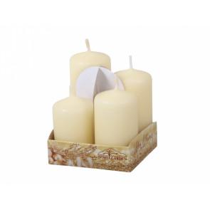 Svíčky adventní STUPŇOVITÉ matné d4x6/7/8/9cm 4ks, béžové