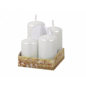 Svíčky adventní STUPŇOVITÉ metal lesk d4x6/7/8/9cm 4ks  bílá