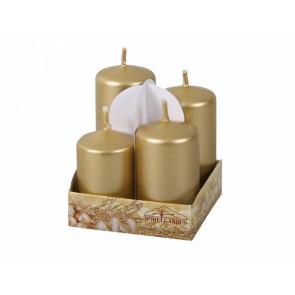 Svíčky adventní STUPŇOVITÉ metal lesk d4x6/7/8/9cm, 4ks, zlatá