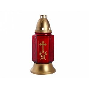 Lampa hřbitovní KŘÍŽ RATOLEST skleněná 200g