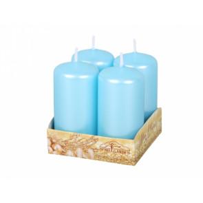 Svíčka adventní d4x8cm/4ks metal lesk/perleť světle modrá