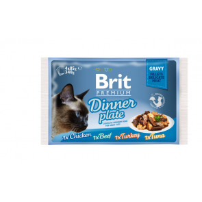 Brit Premium Cat Delicate Fillets in Gravy Dinner Plate 340g