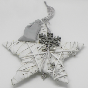 Dekorace hvězda 30cm zavěšení bílá