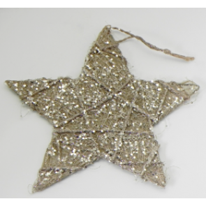 Dekorace hvězda 20cm zavěšení zlatá