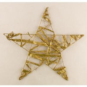 Dekorace hvězda plochá  30cm zlatá