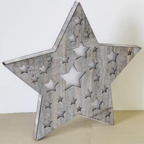 Hvězda dřevo svítící 3,4x48cm antik