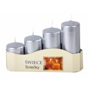 Svíčky adventní STUPŇOVITÉ d5x7,9,11,13cm 4ks/stříbrná