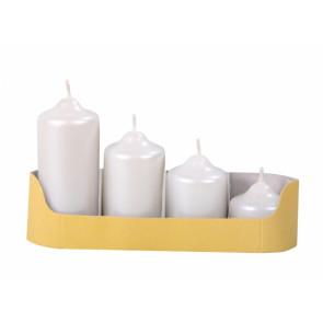 Svíčky adventní STUPŇOVITÉ d4,5x5/7/9/11cm 4ks metalická perleťová