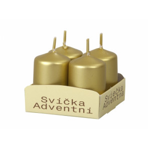 Svíčka adventní d4x6cm/4ks metalická lesklá zlatá