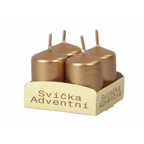 Svíčka adventní d4x8cm/4ks metalická lesklá měděná
