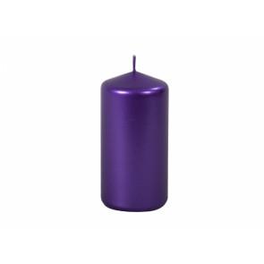 Svíčka METALIK VALEC 5x10cm / metalická lesklá fialová