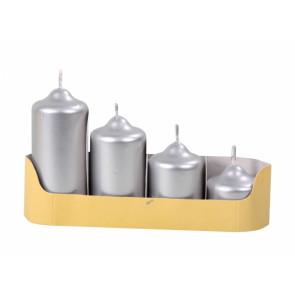 Svíčky adventní STUPŇOVITÉ d4,5x5/7/9/11cm 4ks metalická stříbrná