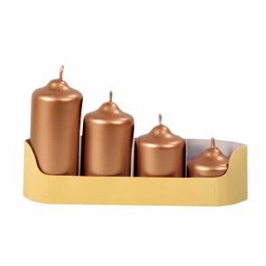 Svíčky adventní STUPŇOVITÉ d4,5x5/7/9/11cm 4ks metalická měděná