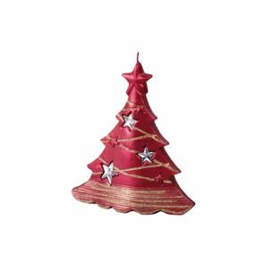 Svíčka vánoční STROMEK S HVĚZDAMI V 15x16cm/metalická červená
