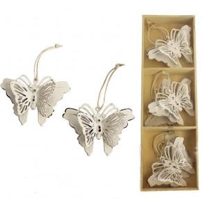 Kovoví motýli k zavěšení, 6ks