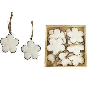 Kovové květy bílé, 10ks