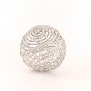 Koule na zavěšení z proutí stříbrná s glitry pr.15cm