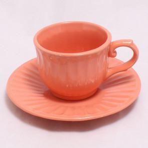 Šálek s podšálkem oranžový