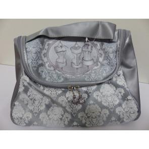 Toaletní taška dárková 30x20cm šedý ornament