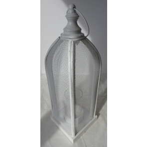 Lucerna kovová bílá 35cm