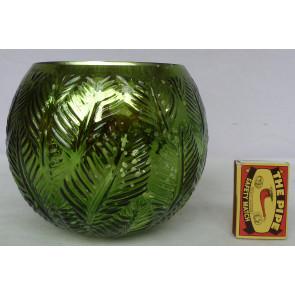 Svícen kulatý skleněný zelený 15x13cm