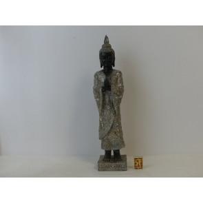 Buddha mystický hnědý/stříbrný polyresin 12x53cm WS