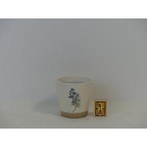 Květináč terakotový bílý s květinou 11x10cm KM