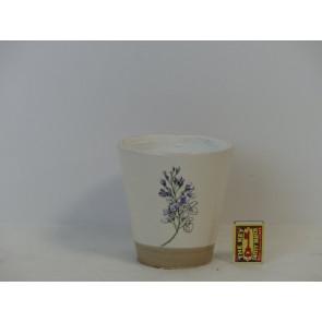 Květináč terakotový bílý s květinou 14x13,5cm KM