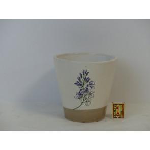 Květináč terakotový bílý s květinou 19,5x18,5cm KM