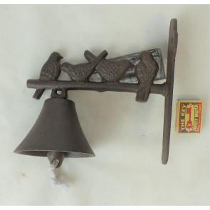 Zvonek se 4 sedícími ptáčky litina 24x20x5cm