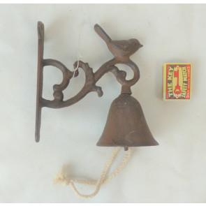Zvonek s ptáčkem litina 16x3x4cm