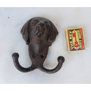 Háček psí hlava litina 12x10x5,5cm
