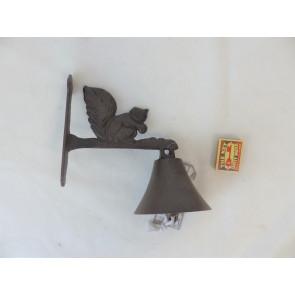 Zvonek s veverkou litina 22x16x4cm