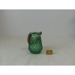 Skleněný svícen  tmavě zelený 11x15,5cm GO