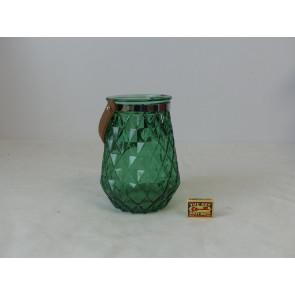 Skleněný svícen tmavě zelený 15x22cm GO