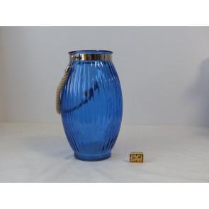 Skleněný svícen modrý 21,5x38cm GO